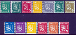 FINLAND 1945 Definitive Lions MI 296-311**MNH - Finlandia