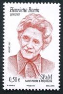 ST-PIERRE ET MIQUELON 2011 - Yv. 999 **  - Henriette Bonin, Institutrice Et Résistante  ..Réf.SPM11605 - St.Pierre & Miquelon