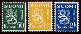 FINLAND 1932 Definitive Lions, MI 176, 177, 180**MNH - Nuovi