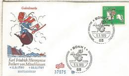 ALEMANIA FDC 1970 BARON DE MUNCHHAUSEN CUENTO NOVELA - Cuentos, Fabulas Y Leyendas