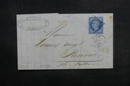 FRANCE - Lettre De Paris Pour Rennes En 1858, Affranchissement Napoléon Sur Lilas, Oblitération Losange J - L 40312 - 1849-1876: Période Classique