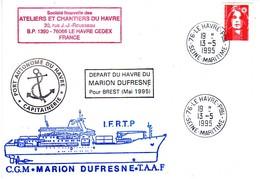 FSAT TAAF Marion Dufresne. 13.05.95 Le Havre (2) Depart Du MD Pour Brest - Brieven En Documenten