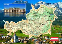Austria Country Map New Postcard Österreich Landkarte AK - Sonstige