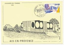 """FRANCE => Carte Locale """"Journée Du Timbre"""" 1991 - Le Tri Postal - AIX EN PROVENCE (CP Fondation Vasarely) - Día Del Sello"""
