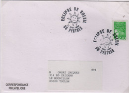 Soleil éclipse Oblitération Temporaire Perthes France 1999 - Astrologie