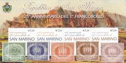 2002, San Marino, 2023/26 Block 30, 125 Jahre Briefmarken Von San Marino. Francobolli Di 125 Anni Di San Marino. MNH ** - Blocks & Kleinbögen