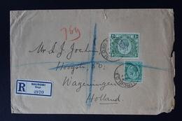 KENYA & UGANDA : REGISTERED COVER NAIROBI TO WAGENINGEN HOLLAND  27-4-1933 SG 78 + 87 - Kenya & Uganda