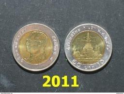 Thailand Coin Circulation 10 Baht Bi Metal Year 2011 UNC - Thaïlande