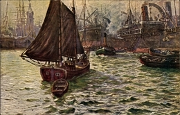 Artiste Cp Krause Wichmann, Hamburger Hafen, Hafenszene, Schiffe, Senftenberger Krone Briketts - Schiffe