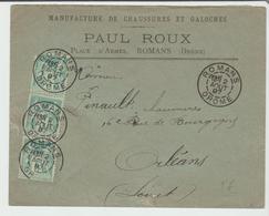 """DROME: """" Manufacture CHAUSSURES P. Roux """" à ROMANS CàD Type A1 / LSC De 1897 SUP - Postmark Collection (Covers)"""