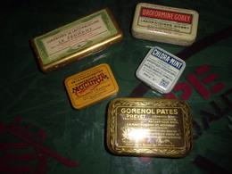 LOT 5 Anciennes Boîte Pharmacie  Tole Lactobacilline Mucinum Chlora Mint Gomenol Uroformine - Matériel Médical & Dentaire