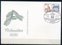 """Germany BERLIN 1982 Privatganzsache Weihnachten ,Chrismas Mi.Nr.PP??? Mit SST""""Offenbach-Weihnachtsmarkt""""1 Beleg - Weihnachten"""