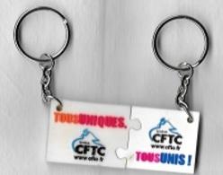 Jeton De Caddie  Porte-clé  Plastique  Syndicat  C.F.T.C  Recto  Verso - Trolley Token/Shopping Trolley Chip