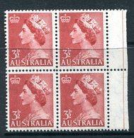 Australia 1953-57 QEII Definitives - 3½d Brown-red - Wmk. - Block Of 4 MNH (SG 263) - 1952-65 Elizabeth II : Pre-Decimals