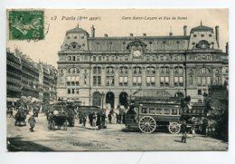 75 PARIS Gare Saint Lazare Et Rue De Rome Omnibus à Chevaux Ligne  1911  Timb    D10 2019 - Metropolitana, Stazioni