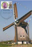 """D37960 CARTE MAXIMUM CARD FD 2015 NETHERLANDS - MILL MOLEN """"DE ONRUST"""" NAARDEN - DETAIL ON STAMP CP ORIGINAL - Naarden"""