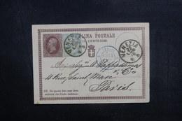 ITALIE - Entier Postal + Complément De Venizia Pour La France En 1876, Oblitérations Plaisantes - L 40344 - 1861-78 Vittorio Emanuele II