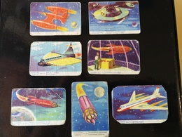 """Lot Of 7 SPACE CARDS - CHYMOS BUBBLE GUM """"AVARUUSARJA"""" About 1957 Finland - SCI -FI - UFO - OVNI - SOUCOUPE - Süsswaren"""