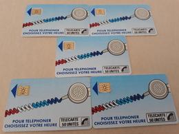 """Lot 5 Telecartes """"cordon Sérigraphie """" - France"""