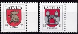 Lettland, 2010, 438/39, Freimarken: Wappen. Madona/Priekule, MNH ** - Lettland