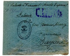 Carta Con Matasellos 2ª Bandera De FET De Jons De Soria Censurada. - 1931-50 Storia Postale