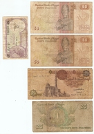 LOT De 5 BILLETS De BANQUE EGYPTE - 5 BANKNOTES EGYPT BANK - 5 BILLETES EGIPTO BANCO - Monnaies & Billets