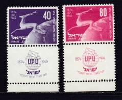 ISRAEL, 1950, Unused Hinged Stamp(s), With Tab, U.P.U., SG27-28, Scannr. 17551 - Israël