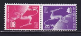 ISRAEL, 1950, Unused Hinged Stamp(s), Without Tab, U.P.U., SG27-28, Scannr. 17552, Tete Bech - Israël