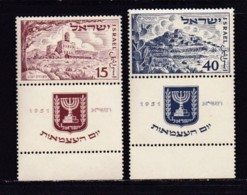 ISRAEL, 1951, Unused Hinged Stamp(s), With Tab, State Israel, SG56-57, Scannr. 17559 - Israël