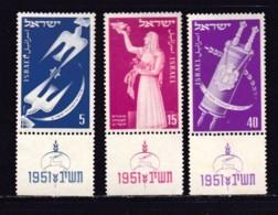 ISRAEL, 1951, Unused Hinged Stamp(s), With Tab, New Year - Festival, SG62-64.Scannr.17561 - Israël