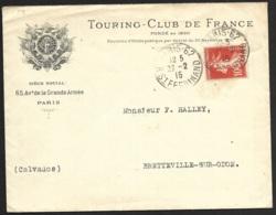 Enveloppe Touring Club De France Avec Semeuse 10c Perforée T.C. - France