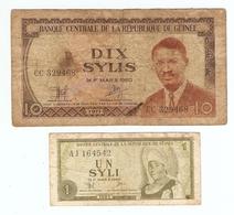 LOT De 2 BILLETS De BANQUE REPUBLIQUE De GUINEE - 2 BANKNOTES REPUBLIC OF GUINEA - 2 BILLETES REPUBLICA DE GUINEA - Lots & Kiloware - Banknotes