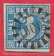Bavière N°2 3k Bleu 1849-50 O - Bavaria