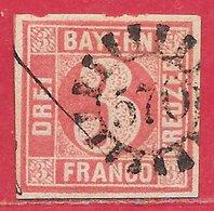 Bavière N°10 3k Rouge 1861-62 O - Bavaria