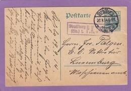 CARTE POSTALE DE STRASBOURG AVEC CACHET DE CENSURE POUR LUXEMBOURG,20-9-1914.POSTKARTE VON STRASBURG NACH LUXEMBURG . - Alsace-Lorraine