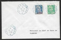 1958 FRANCE - ALGERIE Affranchissement Mixte. C.à.d Convoyeur Bleu ORAN A TLEMCEN 22.7.1958 - Algeria (1924-1962)