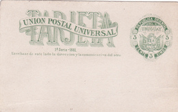 Entier  Postal Stationery - Republica Oriental Del Uruguay - 1a Serie  - 1880 - Uruguay