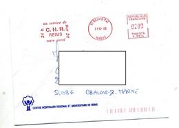 Lettre Flamme Ema Reims Service Santé C H R - Marcofilie (Brieven)