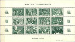 """ÉRINNOPHILIE TRÈS RECHERCHÉES """"AIDE AUX INTELLECTUELS 1943"""" 4 FEUILLETS DE 12 VIGNETTES - France"""