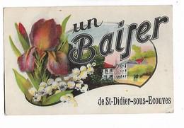 St - Didier - Sous - Ecouves          - Belle  Carte  Avec  Illustration  Des  Fleurs  Et  La  Ville - Gruss Aus.../ Gruesse Aus...