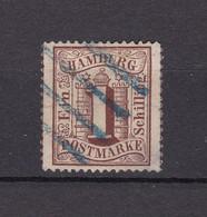 Hamburg - 1864 - Michel Nr. 11 - Vierstrichstempel Blau - Geprüft - 22 Euro - Hamburg