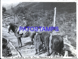 118432 ARGENTINA USHUAIA COSTUMES VIAJE A CABALLO AND MAN'S 1944 12 X 9 CM PHOTO NO POSTAL POSTCARD - Photographie