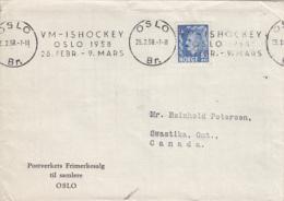 Norway 1958 Cover To Canada Oslo 26 25 2 58 Single Franking VM Ishockey Oslo Slogan Cancel - Lettres & Documents