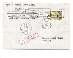 OBLITERATION PREMIERE LIAISON PARIS-LYON DU TGV POSTAL 1984 - Marcophilie (Lettres)