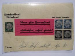 """1939 DR Teilstück Einschreiben Päckchen, Aufdruck """"Wenn Zum Heeresdienst Einberufen, Sofort Zurück!"""" - Briefe U. Dokumente"""