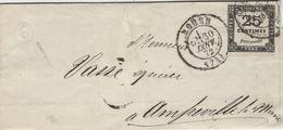 1872- Enveloppe De ROUEN ( Seine Maritime )cad T 17 Sur TAXE 25 C - Marcophilie (Lettres)