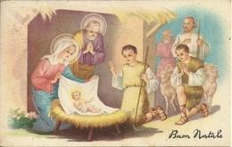 """Cartolina """"Buon Natale"""", Presepe Con Sacra Famiglia E Pastori Con Pecore (S23) - Altri"""