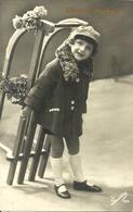 """Cartolina """"Buon Natale"""", Bambina Con Lo Slittino, Thematic Stamp 20 Cent. 7^ Cent. Morte S. Francesco 1926 (S26) - Altri"""