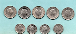 Juliana Koningin Der  25 Cent 1950-51-62-70-72  : 10 Cent 1950-66-70-74 - Danemark