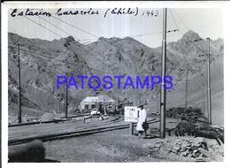 118454 CHILE STATION TRAIN ESTACION DE TREN CARACOLES YEAR 1943 BREAK 12 X 8.5 PHOTO NO POSTCARD - Fotografie
